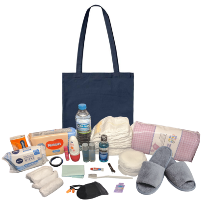Pre Packed Maternity Hospital Navy 100% Cotton Tote Bag Newborn Baby Set